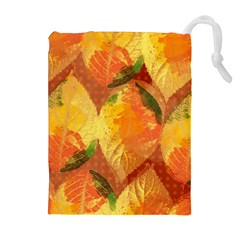 Fall Colors Leaves Pattern Drawstring Pouches (extra Large) by DanaeStudio