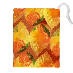Fall Colors Leaves Pattern Drawstring Pouches (xxl) by DanaeStudio