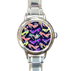 Colorful High Heels Pattern Round Italian Charm Watch