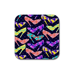Colorful High Heels Pattern Rubber Square Coaster (4 pack)