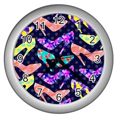 Colorful High Heels Pattern Wall Clocks (silver)  by DanaeStudio