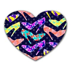 Colorful High Heels Pattern Heart Mousepads by DanaeStudio