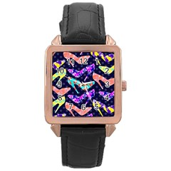 Colorful High Heels Pattern Rose Gold Leather Watch
