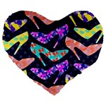 Colorful High Heels Pattern Large 19  Premium Flano Heart Shape Cushions Front
