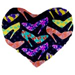 Colorful High Heels Pattern Large 19  Premium Flano Heart Shape Cushions Back