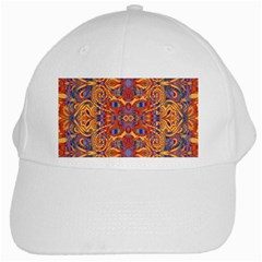 Oriental Watercolor Ornaments Kaleidoscope Mosaic White Cap by EDDArt