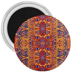 Oriental Watercolor Ornaments Kaleidoscope Mosaic 3  Magnets