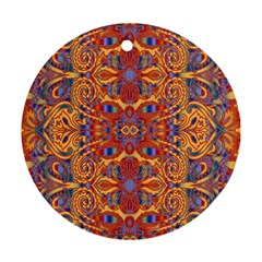 Oriental Watercolor Ornaments Kaleidoscope Mosaic Ornament (Round)