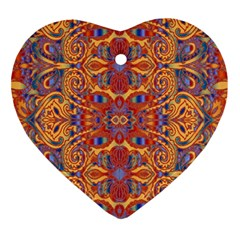 Oriental Watercolor Ornaments Kaleidoscope Mosaic Ornament (Heart)