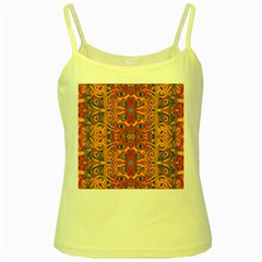 Oriental Watercolor Ornaments Kaleidoscope Mosaic Yellow Spaghetti Tank