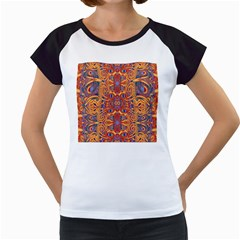 Oriental Watercolor Ornaments Kaleidoscope Mosaic Women s Cap Sleeve T
