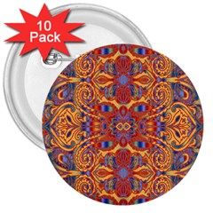 Oriental Watercolor Ornaments Kaleidoscope Mosaic 3  Buttons (10 pack)
