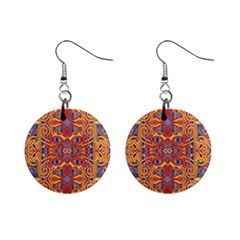 Oriental Watercolor Ornaments Kaleidoscope Mosaic Mini Button Earrings