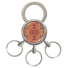 Oriental Watercolor Ornaments Kaleidoscope Mosaic 3 Ring Key Chains by EDDArt