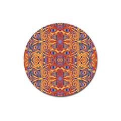 Oriental Watercolor Ornaments Kaleidoscope Mosaic Magnet 3  (Round)