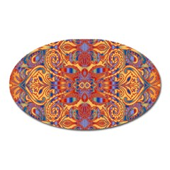 Oriental Watercolor Ornaments Kaleidoscope Mosaic Oval Magnet