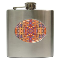 Oriental Watercolor Ornaments Kaleidoscope Mosaic Hip Flask (6 Oz) by EDDArt
