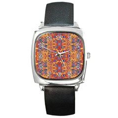 Oriental Watercolor Ornaments Kaleidoscope Mosaic Square Metal Watch
