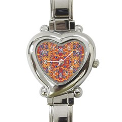 Oriental Watercolor Ornaments Kaleidoscope Mosaic Heart Italian Charm Watch by EDDArt