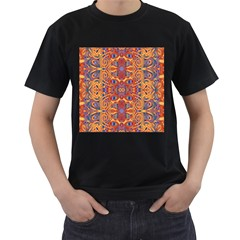 Oriental Watercolor Ornaments Kaleidoscope Mosaic Men s T-Shirt (Black) (Two Sided)