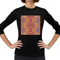 Oriental Watercolor Ornaments Kaleidoscope Mosaic Women s Long Sleeve Dark T-Shirts