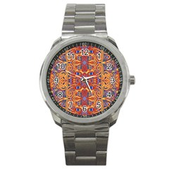 Oriental Watercolor Ornaments Kaleidoscope Mosaic Sport Metal Watch