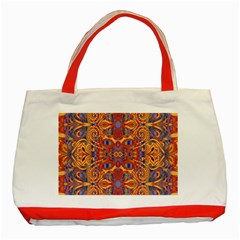 Oriental Watercolor Ornaments Kaleidoscope Mosaic Classic Tote Bag (red) by EDDArt