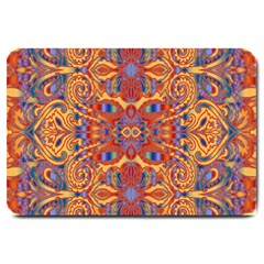 Oriental Watercolor Ornaments Kaleidoscope Mosaic Large Doormat