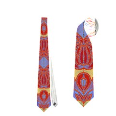 Oriental Watercolor Ornaments Kaleidoscope Mosaic Neckties (One Side)