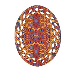 Oriental Watercolor Ornaments Kaleidoscope Mosaic Oval Filigree Ornament (2 Side)  by EDDArt