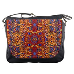 Oriental Watercolor Ornaments Kaleidoscope Mosaic Messenger Bags by EDDArt