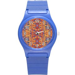 Oriental Watercolor Ornaments Kaleidoscope Mosaic Round Plastic Sport Watch (s) by EDDArt
