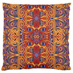Oriental Watercolor Ornaments Kaleidoscope Mosaic Large Cushion Case (one Side) by EDDArt