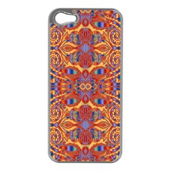 Oriental Watercolor Ornaments Kaleidoscope Mosaic Apple Iphone 5 Case (silver) by EDDArt