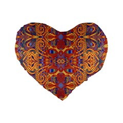 Oriental Watercolor Ornaments Kaleidoscope Mosaic Standard 16  Premium Heart Shape Cushions