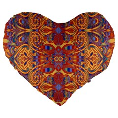 Oriental Watercolor Ornaments Kaleidoscope Mosaic Large 19  Premium Heart Shape Cushions