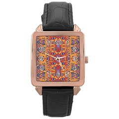 Oriental Watercolor Ornaments Kaleidoscope Mosaic Rose Gold Leather Watch