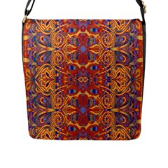 Oriental Watercolor Ornaments Kaleidoscope Mosaic Flap Messenger Bag (L)