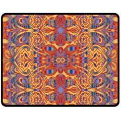 Oriental Watercolor Ornaments Kaleidoscope Mosaic Double Sided Fleece Blanket (Medium)