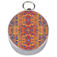 Oriental Watercolor Ornaments Kaleidoscope Mosaic Silver Compasses by EDDArt