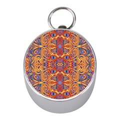 Oriental Watercolor Ornaments Kaleidoscope Mosaic Mini Silver Compasses
