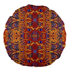 Oriental Watercolor Ornaments Kaleidoscope Mosaic Large 18  Premium Flano Round Cushions by EDDArt