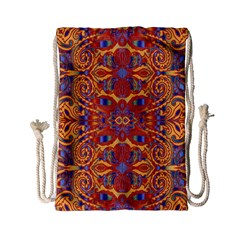Oriental Watercolor Ornaments Kaleidoscope Mosaic Drawstring Bag (small) by EDDArt