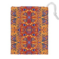 Oriental Watercolor Ornaments Kaleidoscope Mosaic Drawstring Pouches (XXL)
