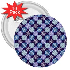 Snowflakes Pattern 3  Buttons (10 Pack)  by DanaeStudio