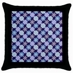 Snowflakes Pattern Throw Pillow Case (black) by DanaeStudio