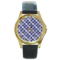 Snowflakes Pattern Round Gold Metal Watch by DanaeStudio