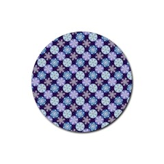 Snowflakes Pattern Rubber Round Coaster (4 pack)