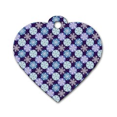 Snowflakes Pattern Dog Tag Heart (Two Sides)