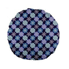 Snowflakes Pattern Standard 15  Premium Round Cushions